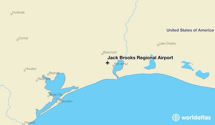 Jack Brooks Regional Airport location on a map