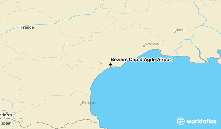 Béziers Cap d'Agde Airport location on a map