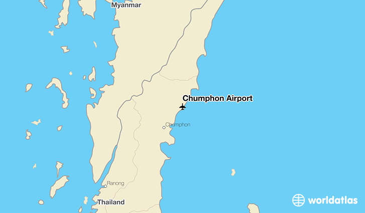 Chumphon Airport location on a map