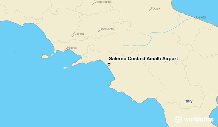 Salerno Costa d'Amalfi Airport location on a map