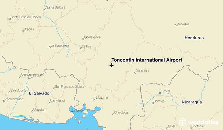 Toncontín International Airport location on a map