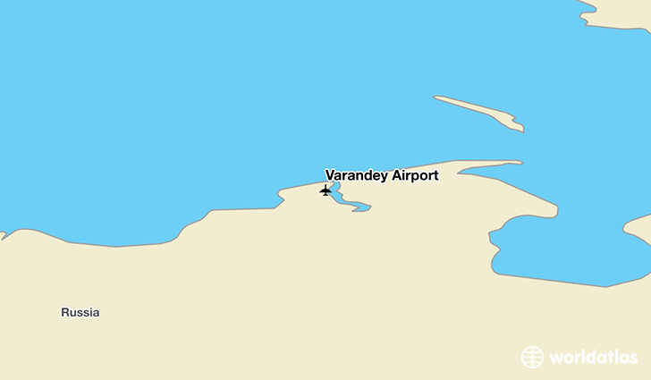 Varandey Airport location on a map
