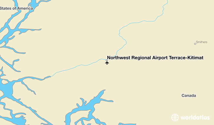 Northwest Regional Airport Terrace-Kitimat location on a map