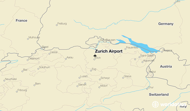 Zurich Airport (ZRH) - WorldAtlas on zurich germany map, zurich transport map, zurich world map, zurich italy map, zurich switzerland, zurich europe map,