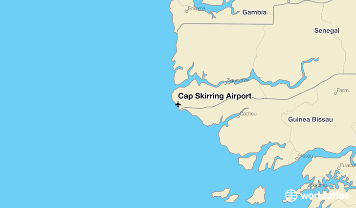 Cap Skirring Airport location on a map