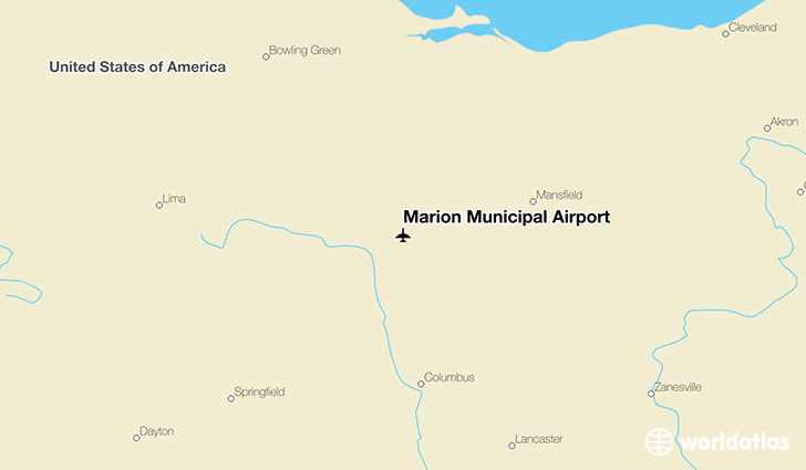 Marion Municipal Airport location on a map
