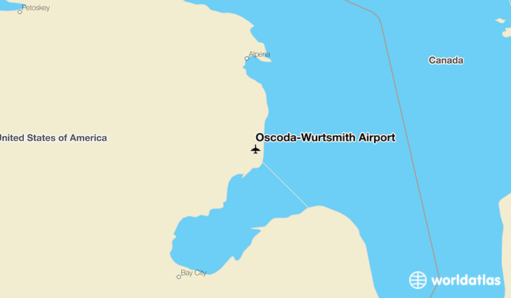 Oscoda-Wurtsmith Airport location on a map