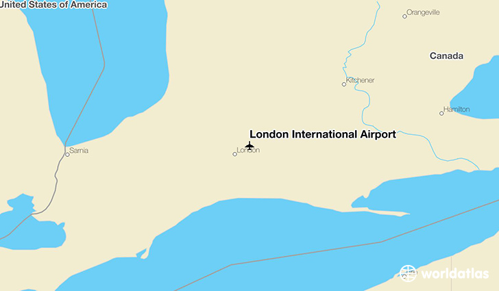 London International Airport location on a map