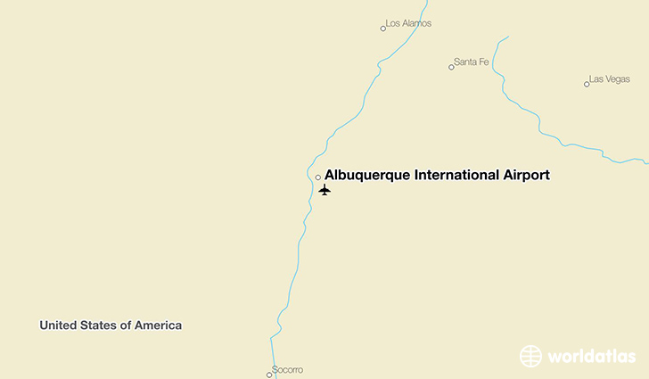 Albuquerque International Airport location on a map