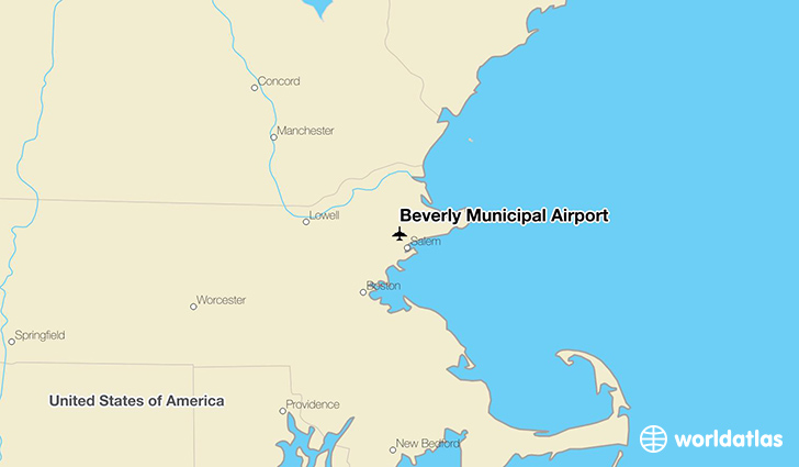 Beverly Municipal Airport location on a map