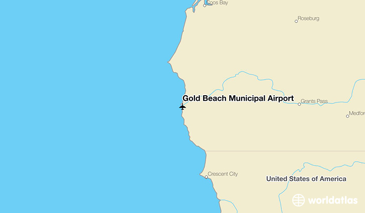 Gold Beach Municipal Airport location on a map