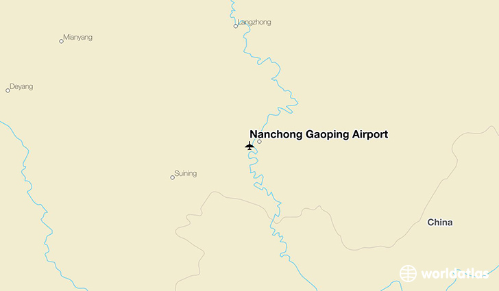 Nanchong Gaoping Airport location on a map
