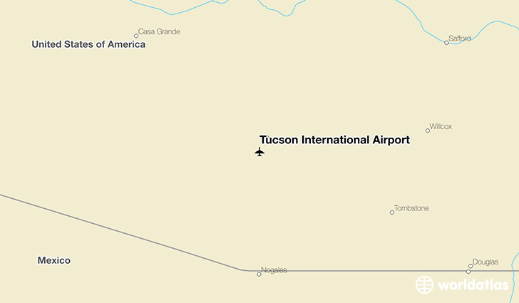 Tucson International Airport location on a map