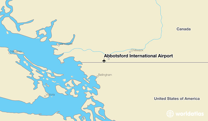 Abbotsford International Airport location on a map