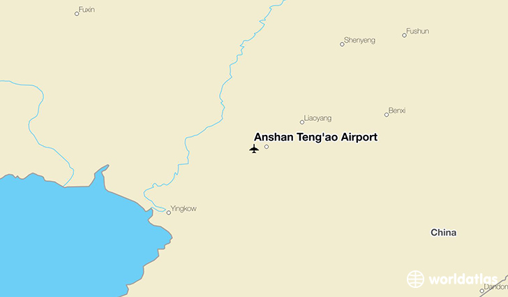 Anshan Teng'ao Airport location on a map