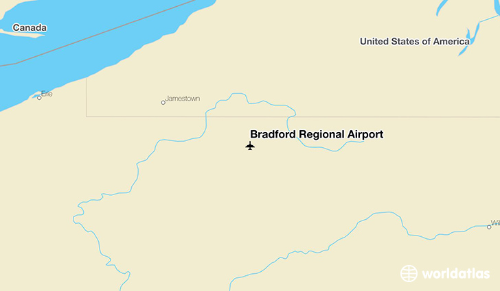 Bradford Regional Airport location on a map