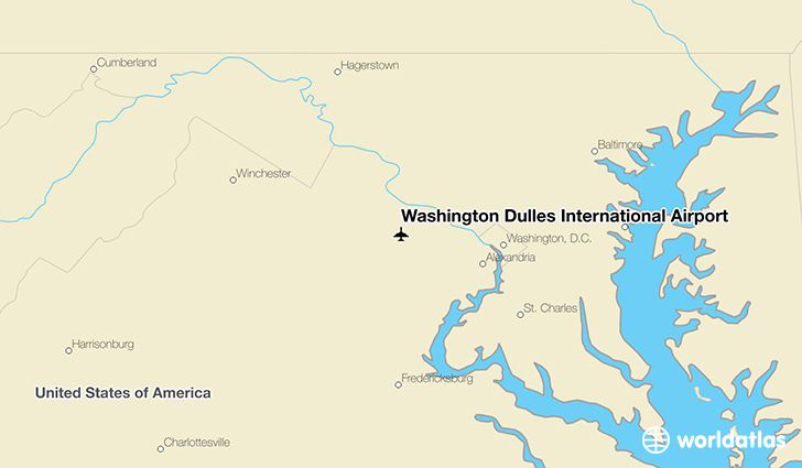 Washington Dulles International Airport location on a map