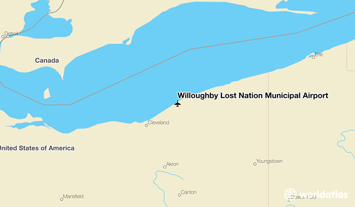 Willoughby Lost Nation Municipal Airport location on a map