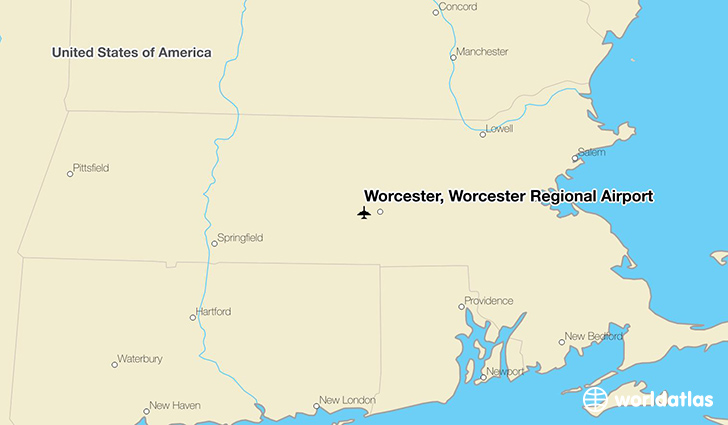 Worcester, Worcester Regional Airport location on a map