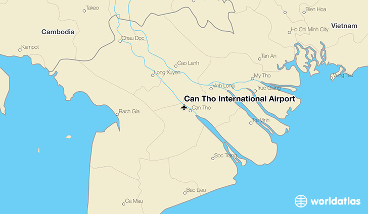 Can Tho International Airport location on a map
