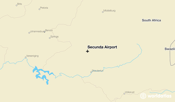 Secunda Airport location on a map