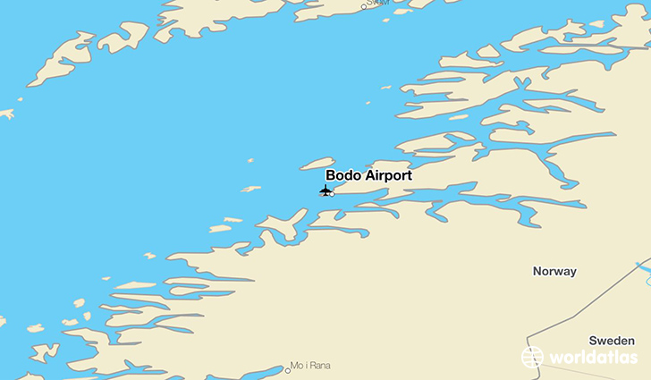 Bodø Airport location on a map