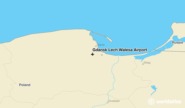 Gdańsk Lech Wałęsa Airport location on a map