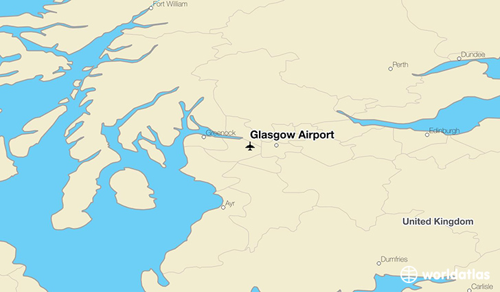Glasgow Airport location on a map