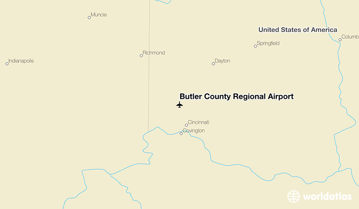 Butler County Regional Airport location on a map