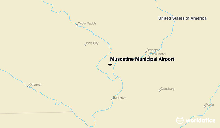 Muscatine Municipal Airport location on a map
