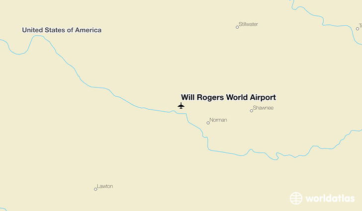 Will Rogers World Airport location on a map