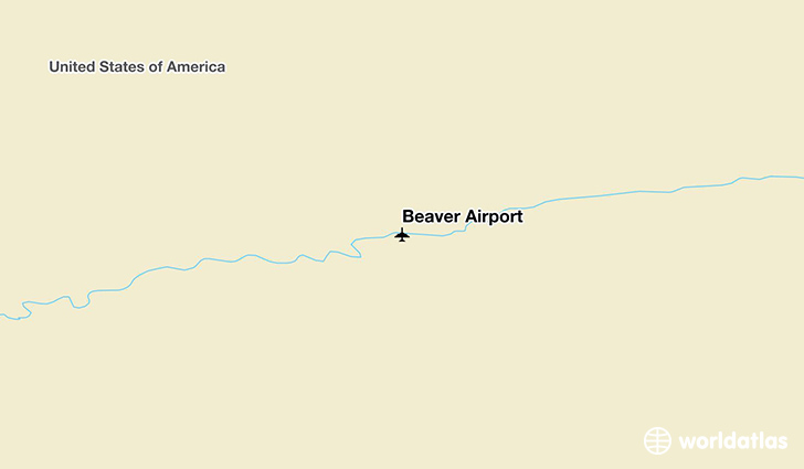 Beaver Airport location on a map