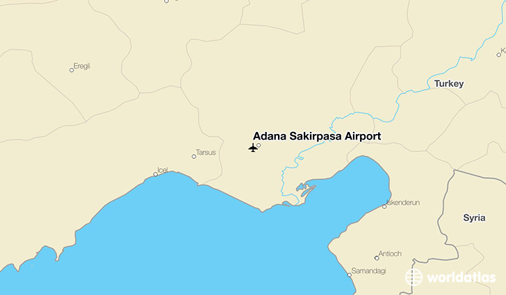 Adana Şakirpaşa Airport location on a map
