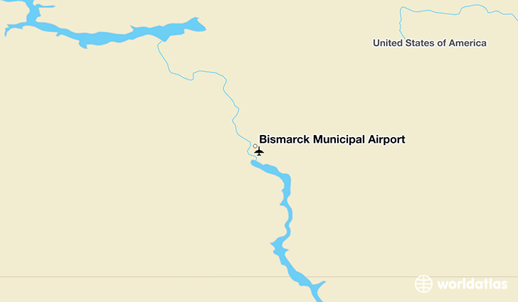 Bismarck Municipal Airport location on a map