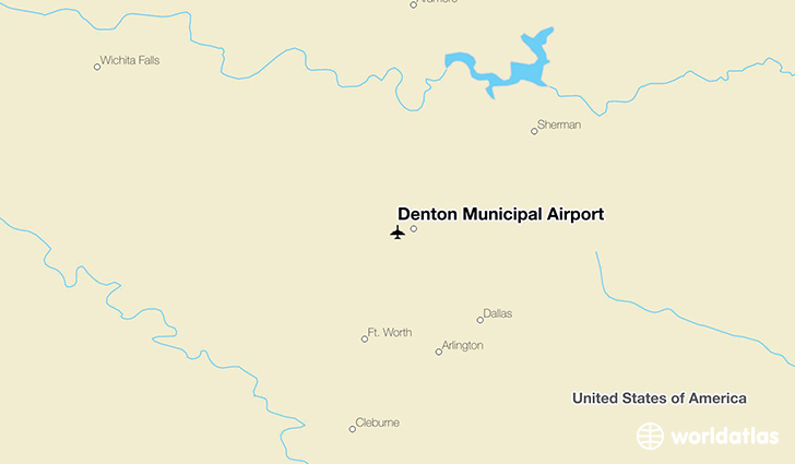 Denton Municipal Airport location on a map