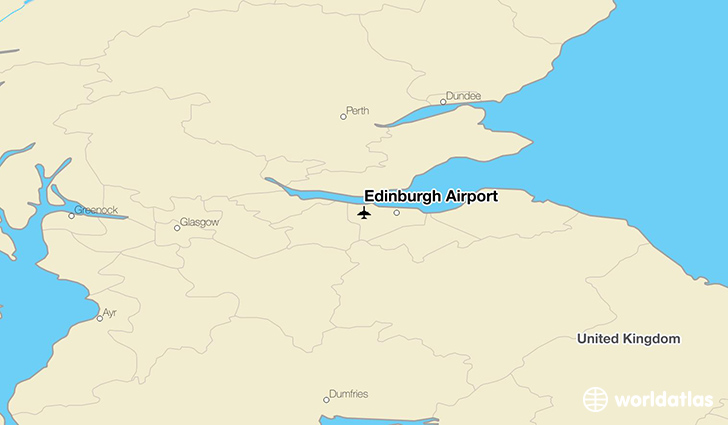 Edinburgh Airport location on a map