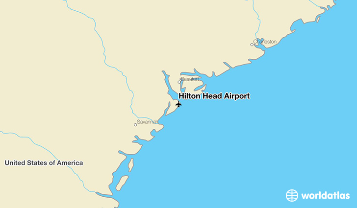 Hilton Head Airport location on a map