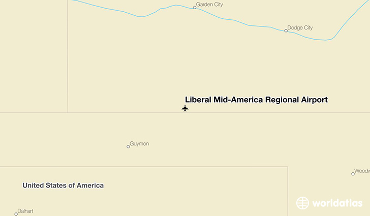 Liberal Mid-America Regional Airport location on a map