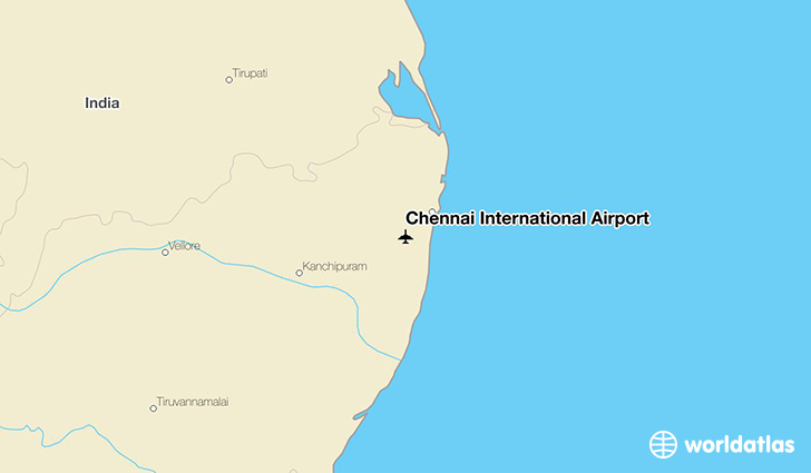 Chennai International Airport location on a map