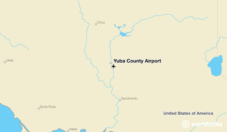 Yuba County Airport location on a map