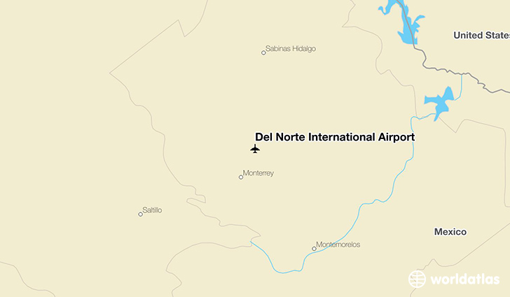 Del Norte International Airport location on a map