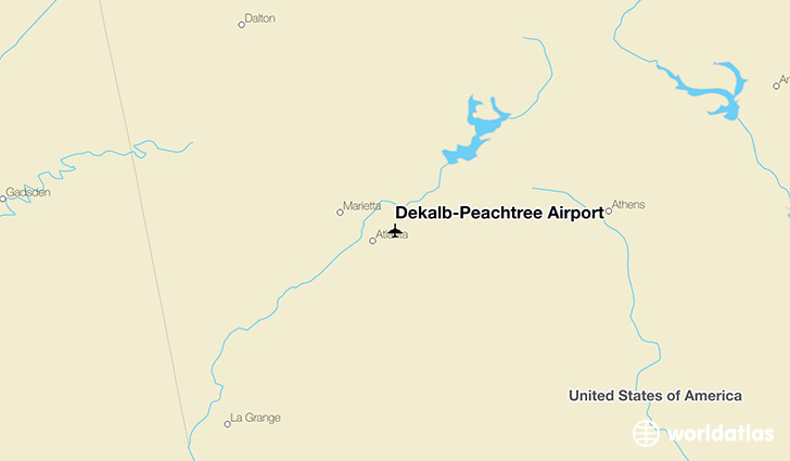 Dekalb-Peachtree Airport location on a map
