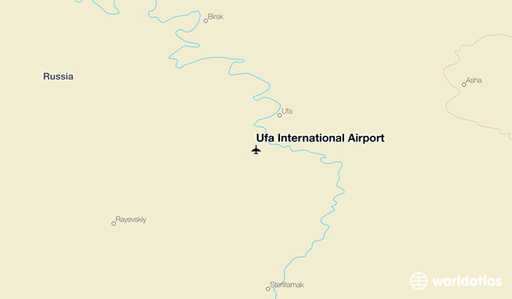 Ufa International Airport location on a map