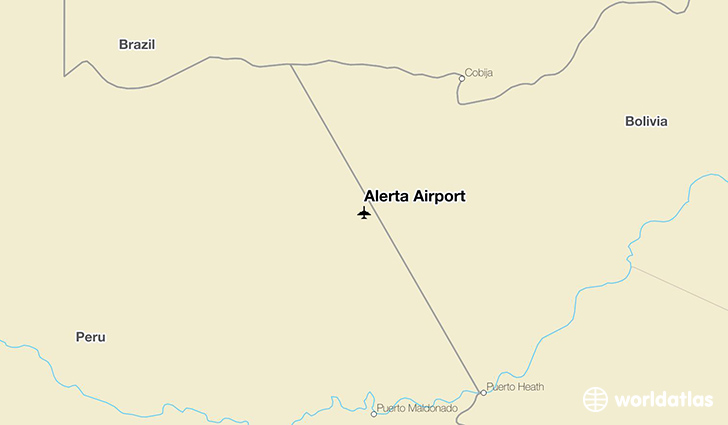 Alerta Airport location on a map