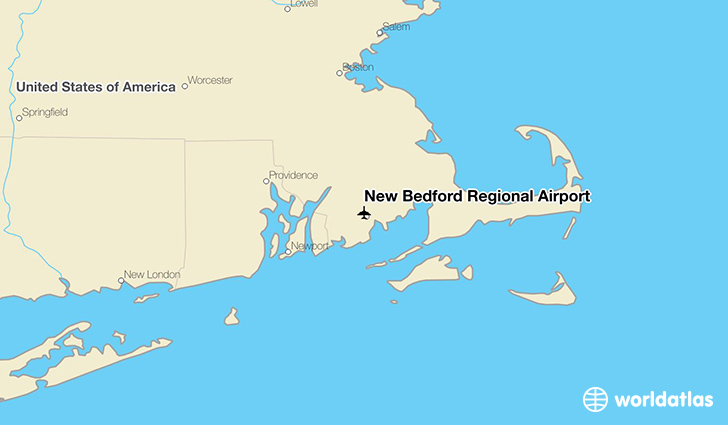New Bedford Regional Airport location on a map