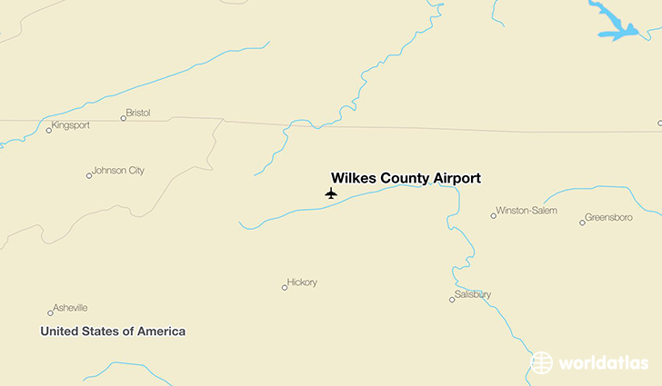 Wilkes County Airport location on a map