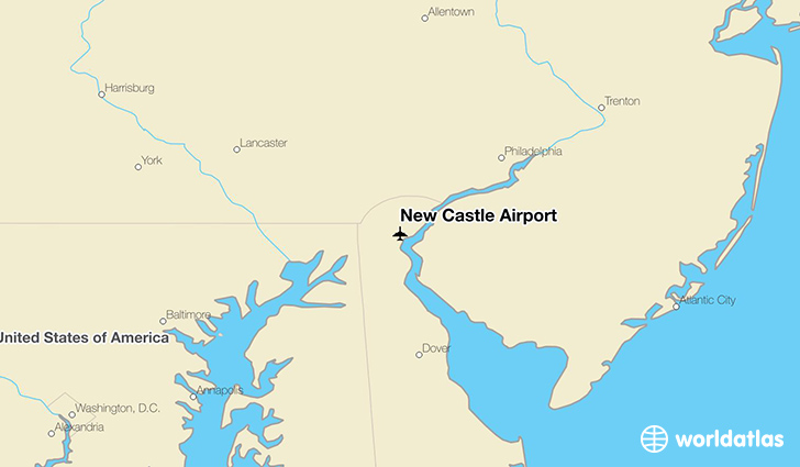 New Castle Airport location on a map