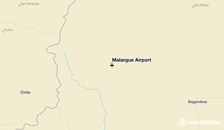 Malargue Airport location on a map