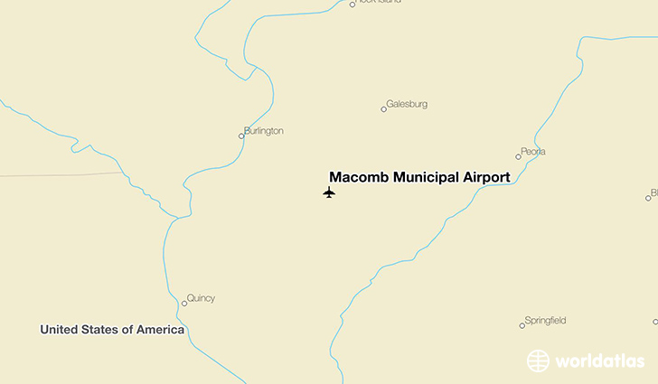 Macomb Municipal Airport location on a map
