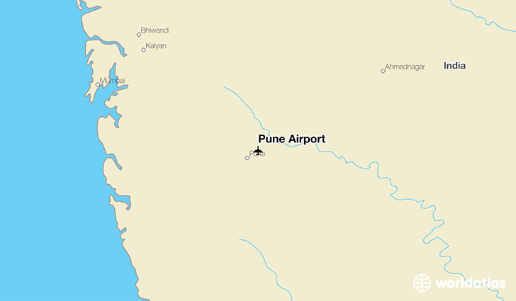 Pune Airport location on a map